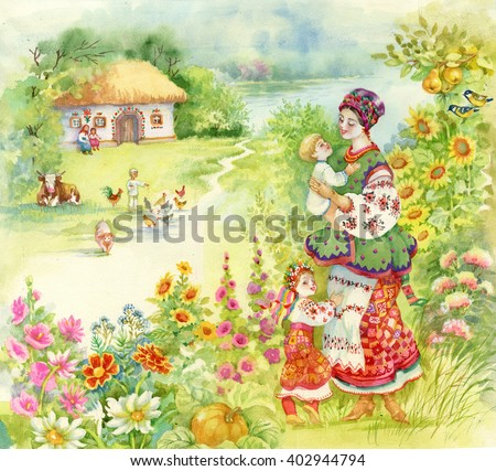 Watercolor countryside landscape with little boy feeding farm animals over Woman in folk costume with children. - stock photo
