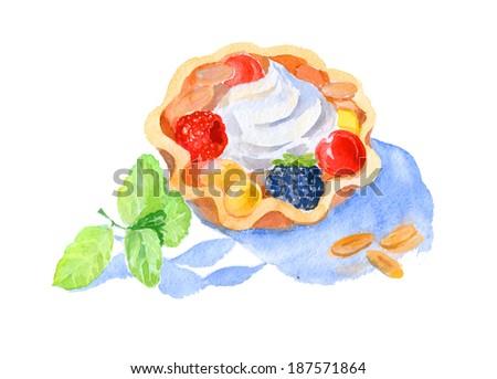 watercolor creams cake for dessert menu - stock photo