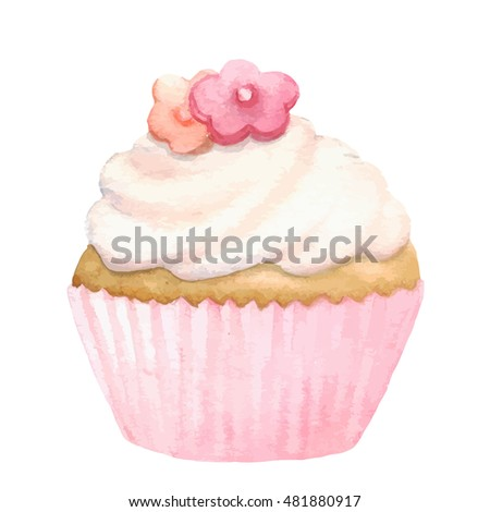 Watercolor cupcake, isolated in white, clipart. Hand painted.