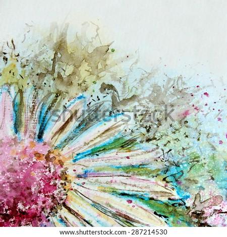 Watercolor Daisy - stock photo