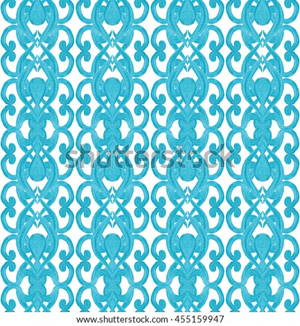 Watercolor damask seamless pattern. Elegant blue luxury texture for wallpapers, backgrounds and page fill. Blue on white