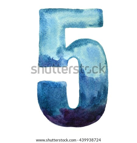 Watercolor decorative number 5. Hand painted number five blue color isolated on white background.