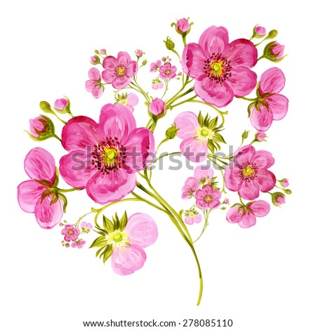 Watercolor delicate spring flowers with buds. Fine background for decoration and design. - stock photo