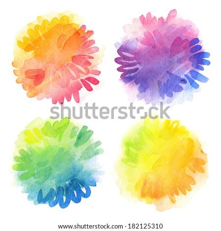Watercolor design elements. - stock photo
