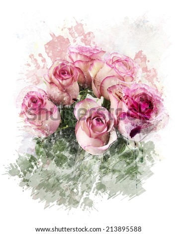 Watercolor Digital Painting Of  Pink Roses - stock photo