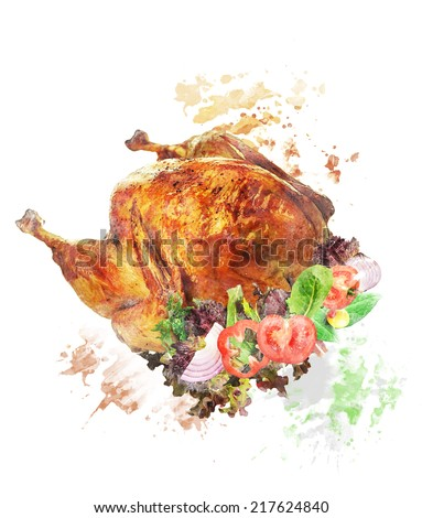 Watercolor Digital Painting Of Roasted Whole Turkey With Salad - stock photo