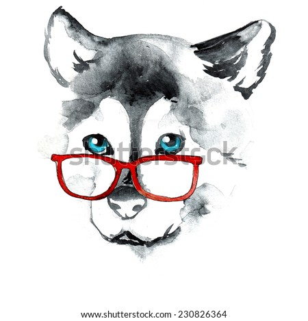 Watercolor dog in red glasses,  illustration - stock photo