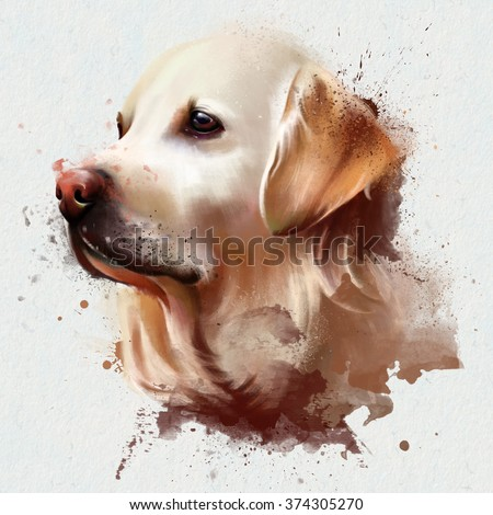 watercolor dog spray paint, on a white background, for printing on posters, textiles, clothing