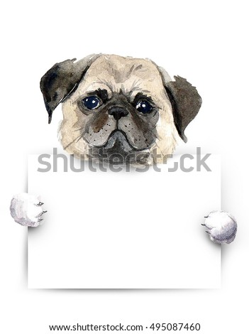 Watercolor dog placard pug dog above stock illustration 495087460 watercolor dog with placard pug dog above white banner template for gift certificate yadclub Images