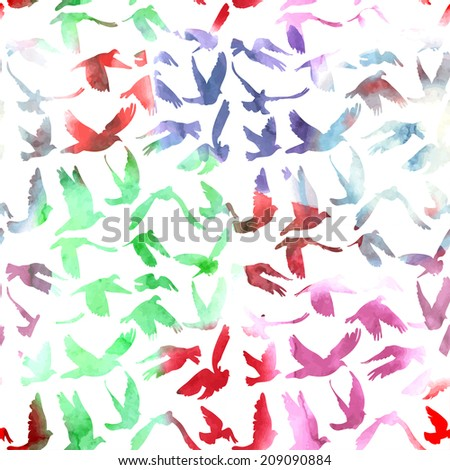 Watercolor Doves and pigeons seamless pattern on white background for peace concept and wedding design.  - stock photo