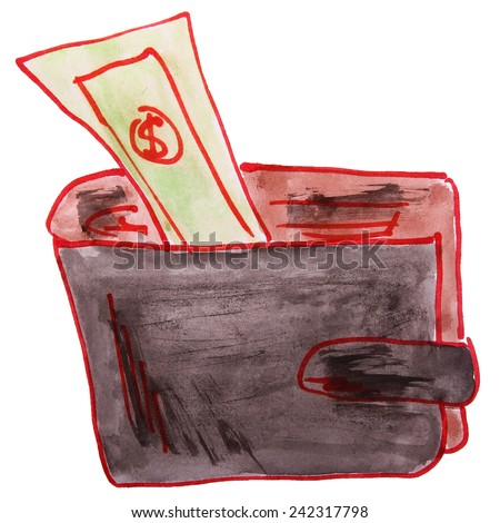 watercolor drawing a children cartoon wallet on a white background - stock photo