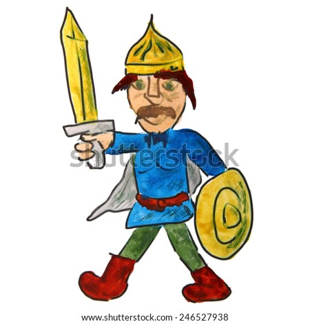 watercolor drawing a children cartoon warrior on a white background - stock photo