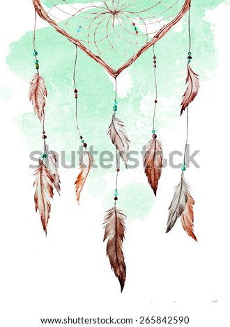 watercolor, drawing, dream catcher, feathers,