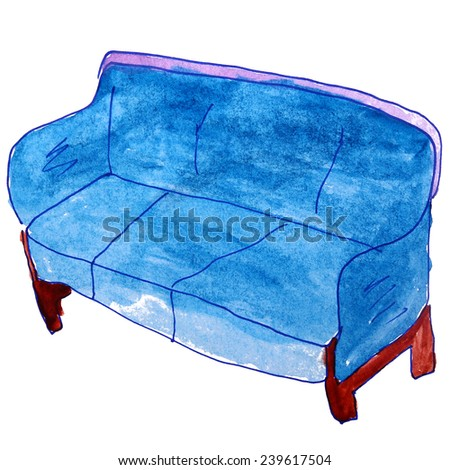 watercolor drawing kids cartoon sofa on a white background - stock photo