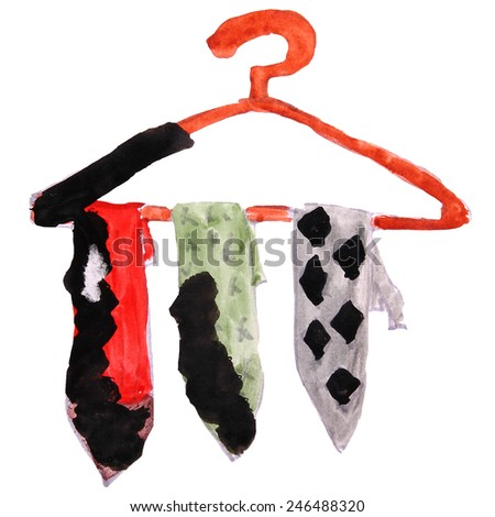 watercolor drawing kids cartoon ties on a white background - stock photo