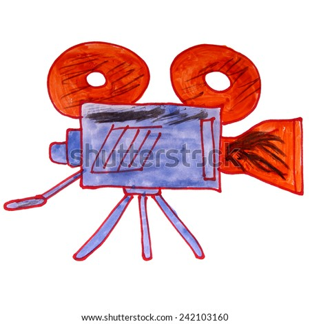 watercolor drawing kids cartoon video camera on a white background - stock photo