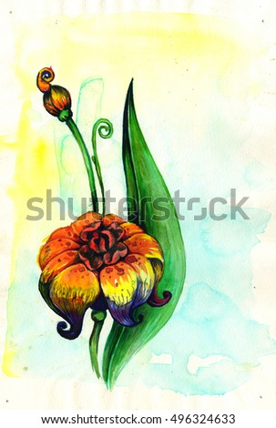 Watercolor drawing of colorful magic flower