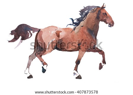 watercolor drawing of jogging horse, young mustang doing dogtrot aquarelle painting - stock photo