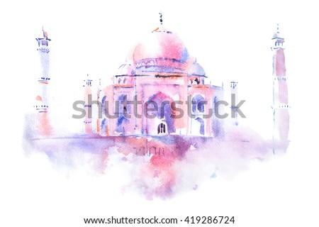 watercolor drawing of Taj Mahal in Agra, India - stock photo