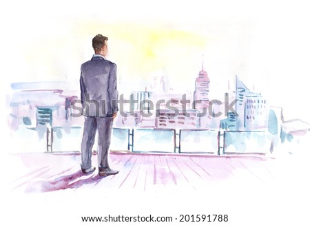 Watercolor drawing paining businessman on the roof looking at the city.  High resolution watercolors draw collection.