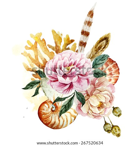 watercolor, drawing, shell, flower, peony,  Coral - stock photo