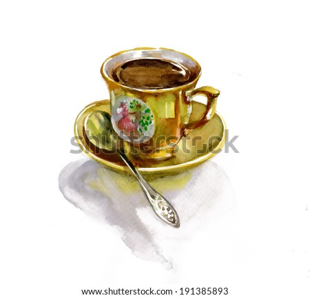 Watercolor drawn teacup and saucer