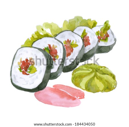 watercolor east food, sushi. Paintings rolls - stock photo