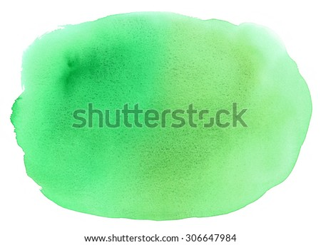 Watercolor Emerald Green Spot Hand Painted Abstract Background Texture Isolated on White - stock photo