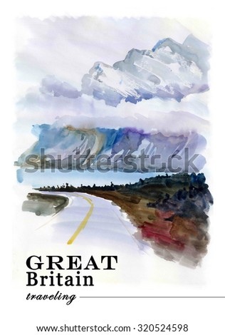 Watercolor England cold landscape drawing. Hand drawn artistic picture of mountain nature view. European landscape illustration. Good for book or article illustration, print design. - stock photo