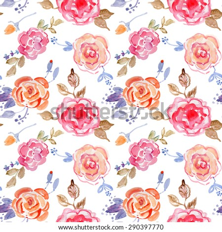 Watercolor English roses  Retro seamless pattern. - stock photo