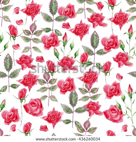 Watercolor English roses seamless pattern. Seamless watercolor paintings. Abstract watercolor vintage hand painted backgrounds. Watercolor roses pattern. - stock photo