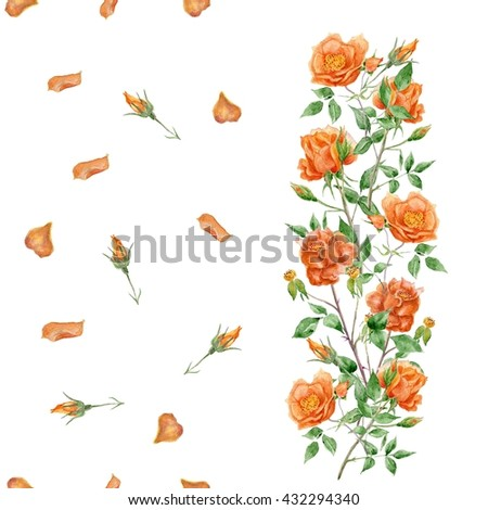 Watercolor English roses seamless pattern. Watercolor painting with Rose flowers. - stock photo