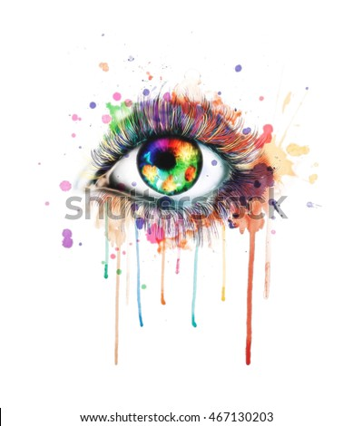 watercolor eyes illustration,t-shirt print,Female eye of blue color, digital watercolor effect,Watercolor artwork of a blue eye, Hand drawn illustration,abstract watercolor,fashion background