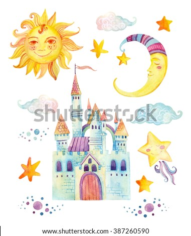 Watercolor fairy tale collection with cute dragon, magic castle, little princess crown, mountains and fairy clouds isolated on white background. Hand painted elements for kids, children design