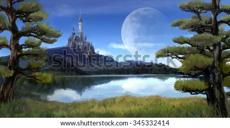 Watercolor fantasy illustration of a natural riverside lake forest landscape with ancient medieval castle on the rocky hill mountain background and blue sky with giant moon scene with fairy tale myth - stock photo