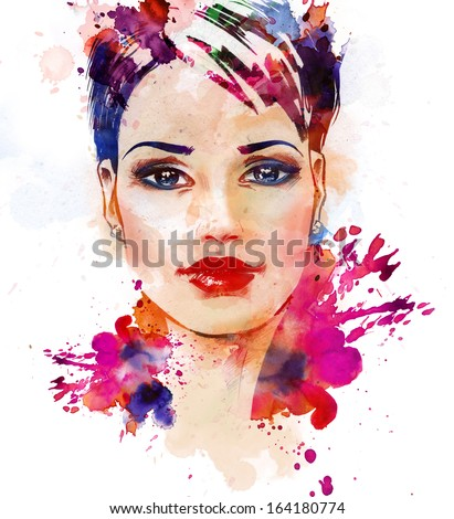 Watercolor fashion illustration of the beautiful young girl. - stock photo