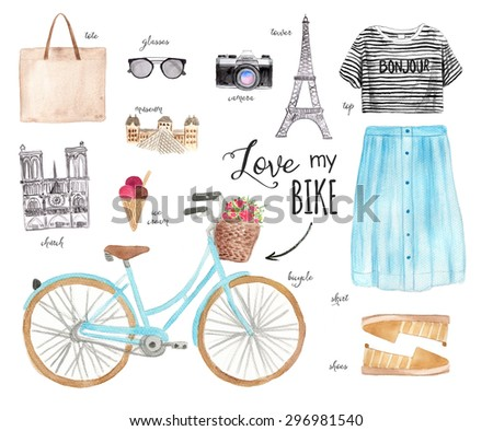 Watercolor Fashion Illustration with Bicycle. Paris Style Outfit. - stock photo