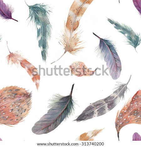 Watercolor feathers seamless pattern. Hand painted texture with various multicolor bird feathers on white background. - stock photo