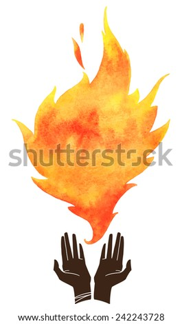 Watercolor fire with cupped hands silhouette. Tongue of flame with space for text. Hand drawn burning fire silhouette with sparks. Raster version. - stock photo