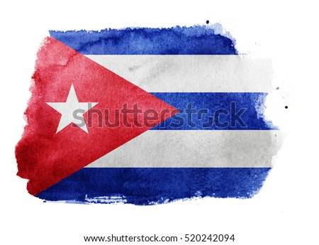 Watercolor flag background. Cuba