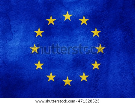 Watercolor flag background. EU