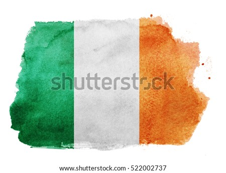 Watercolor flag background. Ireland
