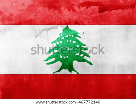 Watercolor flag background. Lebanon