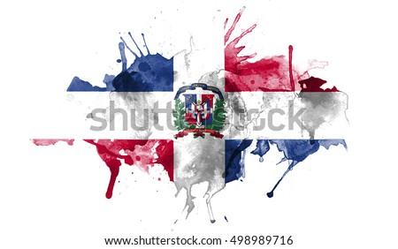 Watercolor Flag Dominican Republic Stock Illustration