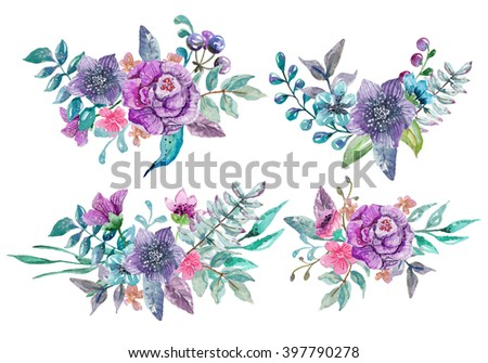Watercolor floral and nature elements , illustration for design, four Beautiful bouquet with watercolor flowers over white - stock photo