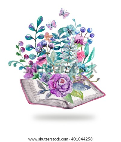 Watercolor floral and nature elements with beautiful old books, illustration for design, Beautiful card with watercolor flowers and books over white - stock photo