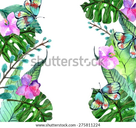 Watercolor Floral background with Tropical orchid flowers, leaves and butterflies for beautiful natural design - stock photo
