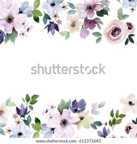 Watercolor floral border design colorful template em ilustrao watercolor floral border for design colorful template for wedding birthday invitation card stopboris Image collections