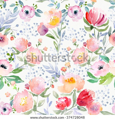 Watercolor floral botanical pattern and seamless background. Ideal for printing onto fabric and paper or scrap booking. Hand painted. Raster illustration. - stock photo