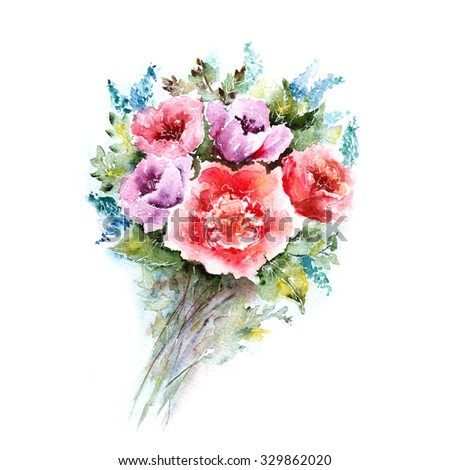 Watercolor floral bouquet. Floral background. Birthday card.